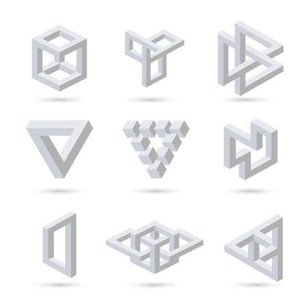 Ilustración de Geometric optical illusion symbols. Vector - Imagen libre de derechos