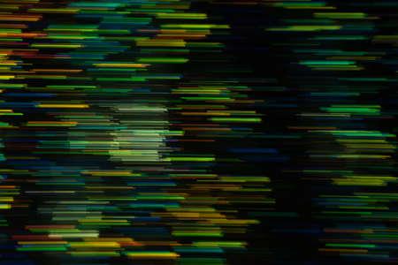 Photo pour Defocused multicolor horizontal stripes on dark background. Blurred glowing lights. Lens flare design. - image libre de droit
