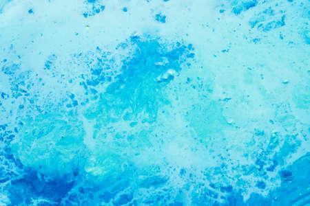 Photo pour Abstract art texture background. Marbled surface design. Beautiful sky blue acrylic paint with splash effect. - image libre de droit