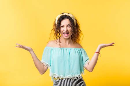 Photo pour Voila. Happiness joy optimism achievement success. Body language gesture. Excited boho woman open palms hands. - image libre de droit