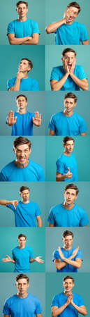 Photo pour Portrait collage. Body language. Man in blue t-shirt showing different gestures isolated on teal background. Row montage of dislike stop doubt confidence clueless surprise anger approval signs. - image libre de droit