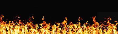 Photo pour Hot banner. Fire flame texture. BBQ heat. Bright orange yellow warm grill fireplace with sparks isolated on dark night abstract empty space background. - image libre de droit
