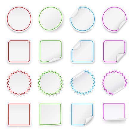 Set of vector blank stickers  Design templates for