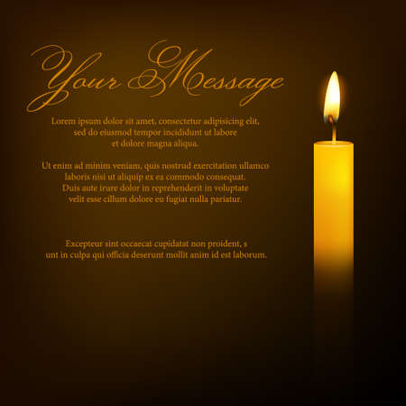Vector funeral card with candle and place for text. EPS10 illustration.