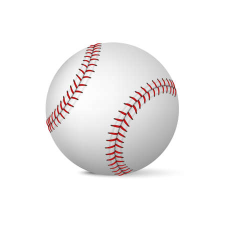 Realistic baseball on white background. Vector EPS10 illustration.