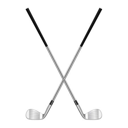 Illustration pour Two 3d realistic crossed golf clubs isolated on white. Vector EPS10 illustration. - image libre de droit