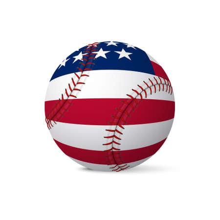 Baseball flag of USA isolated on white background. Vector EPS10 illustration.