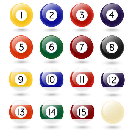 Colored Pool Balls. Numbers 1 to 15 and zero ball. Isolated on white. Vector EPS10 illustration.