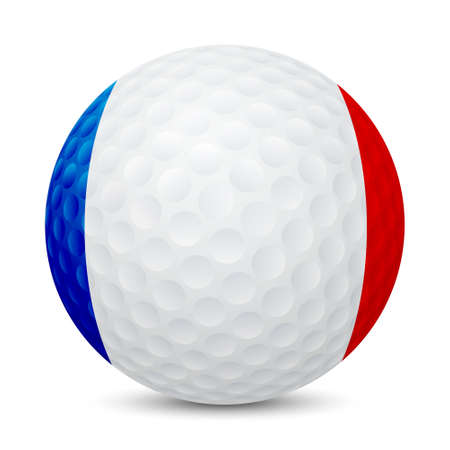 Golf ball with flag of France, isolated on white background.