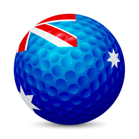 Golf ball with flag of Australia, , isolated on white background.