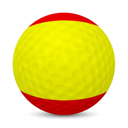 Golf ball with flag of Spain, isolated on white background.