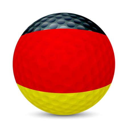 Golf ball with flag of Germany, isolated on white background.