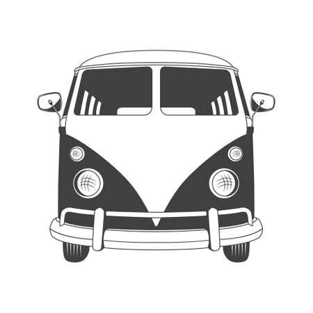 Illustration pour Retro travel bus in front view. Vector EPS8 illustration. - image libre de droit
