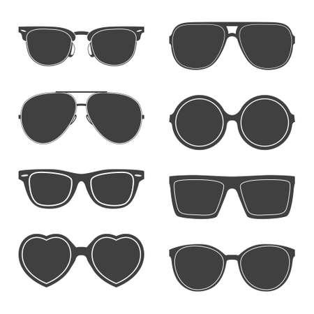 Illustration pour Vector set of sunglasses silhouettes.  - image libre de droit