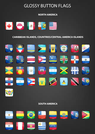 Set of glossy button flags NORTH AMERICA CARIBBEAN ISLANDS COUNTRIES CENTRAL AMERICA ISLANDS SOUTH AMERICA. Vector  illustration.