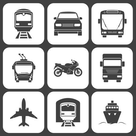 Ilustración de Simple monochromatic transport icons set. Vector EPS8 illustration. - Imagen libre de derechos