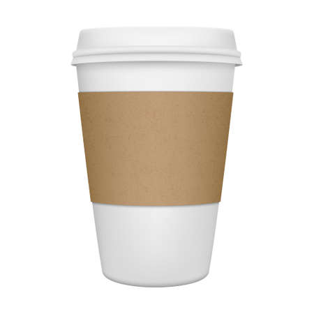 Realistic paper coffee cup iIsolated. Vector EPS10 illustration.
