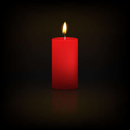 Realistic 3d red candle on a dark background with reflection. Vector   illustration.