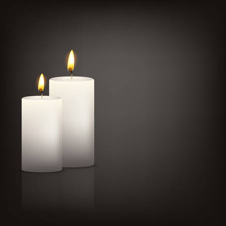 Vector background with two realistic 3d white candles in the dark with reflection. Vector   illustration.