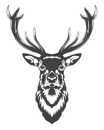 Illustration pour Monochrome deer head isolated on white background. Vector   illustration. - image libre de droit