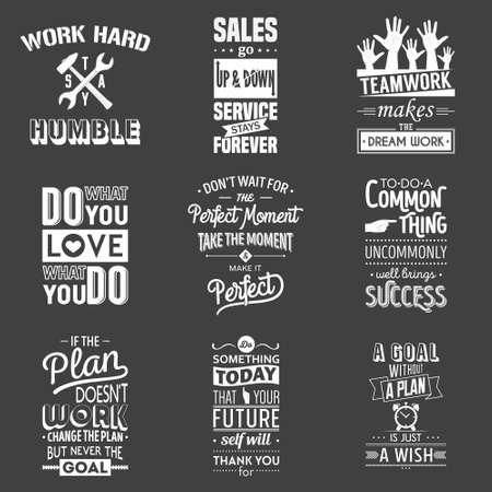 Illustration pour Set of vintage business motivation typographic quotes. Vector   illustration. - image libre de droit