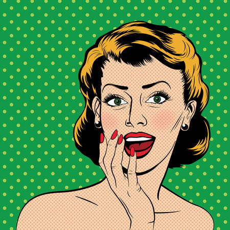 Beautiful surprised woman in the pop art comics style. Vector illustration.