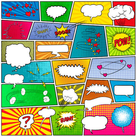 Illustration pour Mock-up of a typical comic book page with speech bubbles, symbols, sound effects and colored halftone strip backgrounds. Vector EPS10 illustration. - image libre de droit