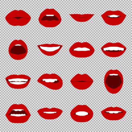 Illustration pour Lips set. Womans mouth close up with expressing different emotions. Vector EPS8 illustration. - image libre de droit
