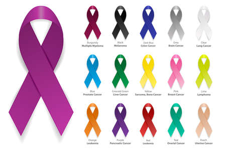 Ilustración de Cancer Ribbon. Vector realistic 3d awareness ribbon different color set closeup isolated on white background. International Day of cancer, World Cancer Day. Design template for graphics. - Imagen libre de derechos