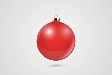 Illustration pour Vector Realistic Red 3d Christmas Glossy Glass Ball Icon, Mock-up Closeup Isolated on White Background. Design Template of Xmas and New Year Tree Toy Decoration Ball for Mockup. Front View. - image libre de droit