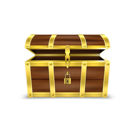 Illustration pour Vector 3d Realistic Opened Empty Retro Vintage Antique Old Treasure Wooden brown Pirate Dower Chest with Golden Metal Stripes and Padlock and Keyhole Closeup Isolated on White Background. - image libre de droit