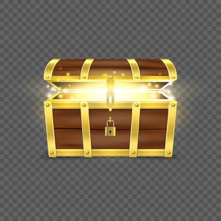 Illustration pour Vector 3d Realistic Opened Empty Retro Vintage Antique Old Treasure Wooden brown Pirate Dower Chest with a Glow, Golden Metal Stripes and Padlock and Keyhole Closeup Isolated on Transparent Background. - image libre de droit
