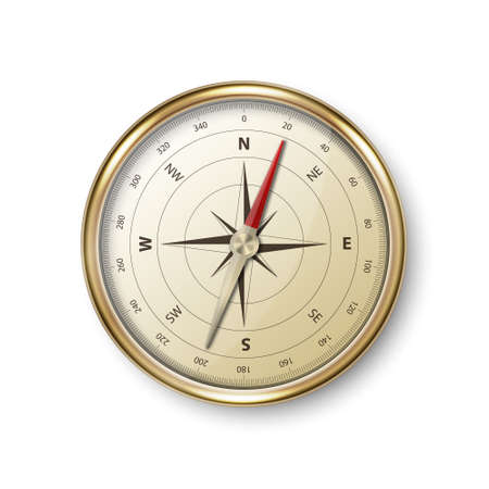 Illustration for Vector 3d Realistic Metal Golden Antique Old Vintage Compass with Windrose Icon Closeup Isolated on White Background. Design Template. Travel, Navigation Concept. Stock Vector Illustration - Royalty Free Image