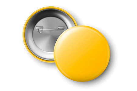 Photo pour Vector 3d Realistic Yellow Metal, Plastic Blank Button Badge Icon Set Isolated on Transparent Background. Top View - Front and Back Side. Template for Branding Identity, Presentations. Mock-up - image libre de droit