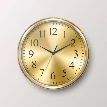 Illustration pour Vector 3d Realistic Simple Round Golden Wall Office Clock Icon Closeup Isolated on White Background. Design Template, Mock-up for Branding, Advertise. Front or Top View - image libre de droit