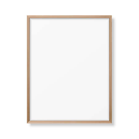 Illustration pour Vector 3d Realistic A4 Brown Wooden Simple Modern Frame Icon Closeup Isolated on White. It can be used for presentations. Design Template for Mockup, Front View - image libre de droit