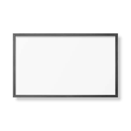 Illustration pour Vector 3d Realistic Horizontal Black Wooden Simple Modern Frame Icon Closeup Isolated on White. It can be used for presentations. Design Template for Mockup, Front View - image libre de droit