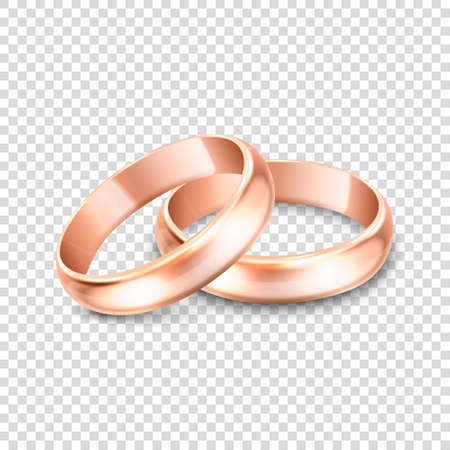Illustration pour 3d Realistic Gold Metal Wedding Ring Icon Set Closeup Isolated on Transparent Background. Design Template of Shiny Golden Rings. - image libre de droit