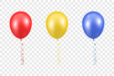 Illustration for 3d Realistic Red, Yellow and Blue Balloon with Ribbon Set Closeup Isolated on Transparent Background. - Royalty Free Image