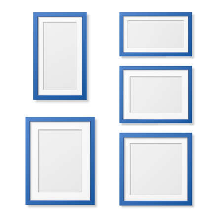 Illustration pour Vector 3D Reaistic Wooden or Plastic Simple Modern Minimalistic Blue Picture Frame Set Isolated on White Background. Design Template for Mockup, Presentations, Art Projects and Photos - image libre de droit