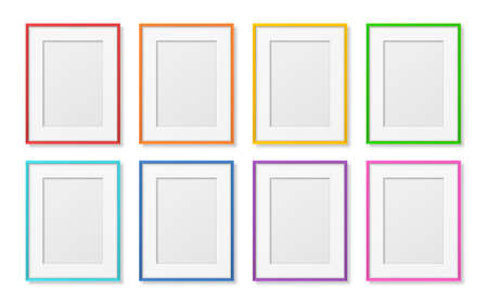 Illustration pour Vector 3D Reaistic Wooden, Plastic Simple Modern Minimalistic A4 Colored Picture Frame Set Isolated on White Background. Design Template for Mockup, Presentations, Art Projects, Photos - image libre de droit