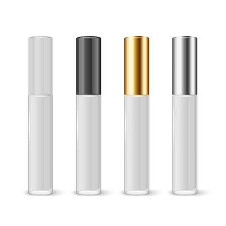 Illustration pour Vector 3d Realistic Closed White Lip Gloss, Lipstick Package Set Isolated on White Background. Glass Container, Tube, Lid, Brush. Plastic Transparent Bottle Design Template, Mockup. Front View - image libre de droit