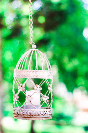 Vintage Candle In Decorative Bird Cage Festive Romantic Decor