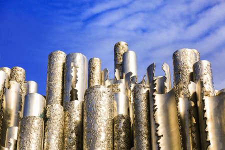 Foto de Hollow steel pipes welded together in wave-like pattern. Abstract concept art. Sibelius Monument in Helsinki, Finland. - Imagen libre de derechos