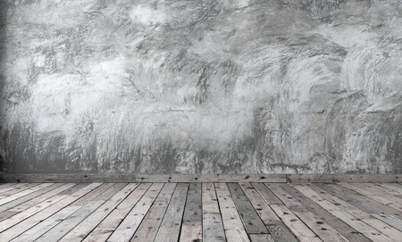 Photo pour Blank of minimalist style room with gray cement plaster on the wall and brown wooden flooring on the floor. Rough concrete walls and boards with dark knots. 3D rendering. - image libre de droit