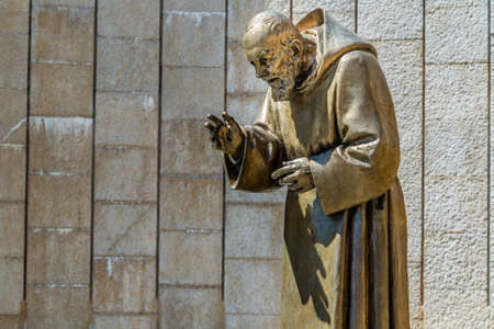 Statue of Saint Father Pious in the Shrine in San Giovanni Rotondo, in Apulia in Italy