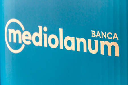 LUGO (RA), ITALY – SEPTEMBR 11, 2018: Dust and dirt covering the sign of the Mediolanum Bank
