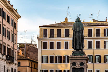 ROME, ITALY - JANUARY 1, 2019: the statue of Giordano Bruno overlooks the square of Campo De Fiori in Rome where he was executed