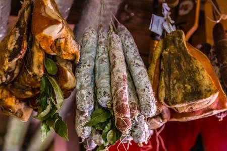hanged meat for sale in Italian butcher Shop
