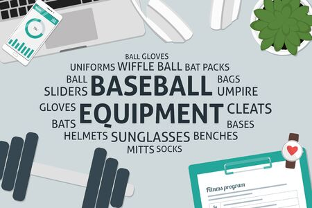vector baseball equipment concept,template